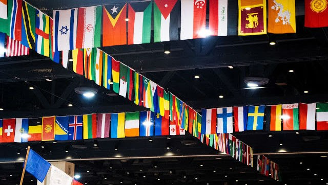 Photo of flags at the International Festival, from their Facebook page.